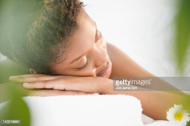 Tranquil Black woman