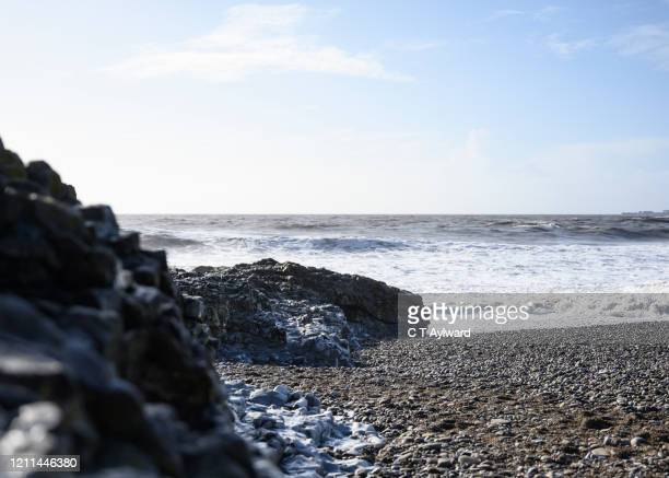 tranquil evening at ogmore by sea - porthcawl stock pictures, royalty-free photos & images