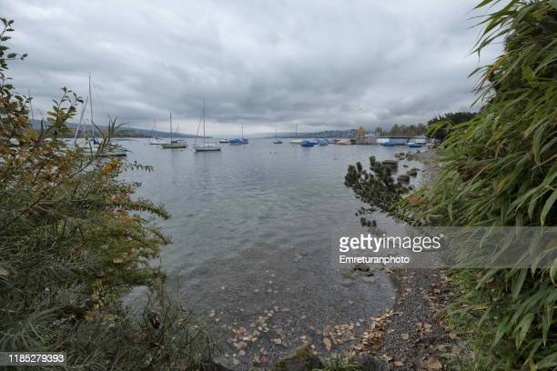 tranquil lake scenery with anchored boats,zurich lake. - emreturanphoto stock pictures, royalty-free photos & images
