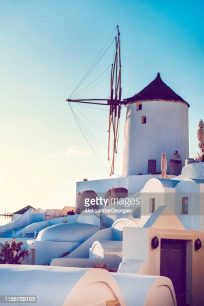 tranquil santorinian windmill - cyclades islands stock pictures, royalty-free photos & images