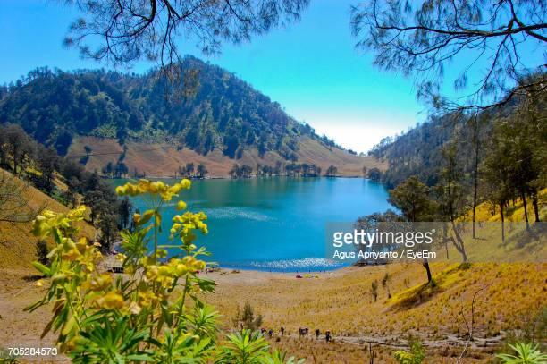 Tranquil Scene Of Lake Against Clear Sky
