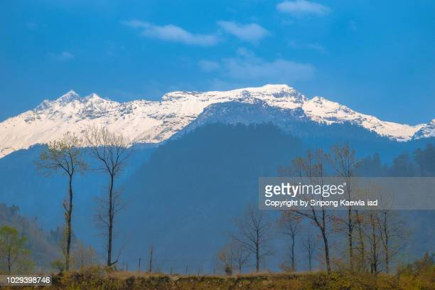 tranquil scene of the himalaya snow mountain in lachung village, north sikkim, india. - sikkim stock pictures, royalty-free photos & images