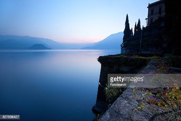Tranquil scene overlooking Lake Como at sunset