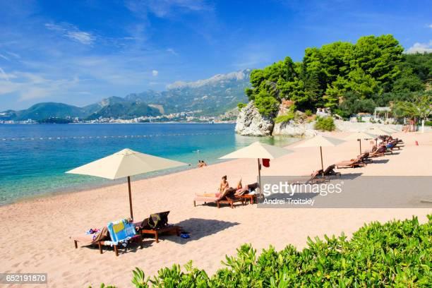 Tranquil scenic beach near Sveti Stefan, Montenegro