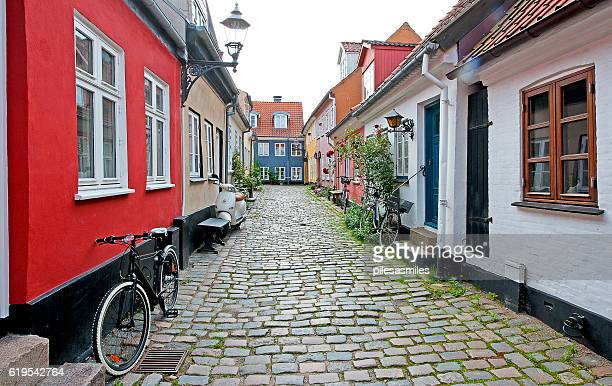 tranquil sidestreet, aalborg, denmark - aalborg stock pictures, royalty-free photos & images