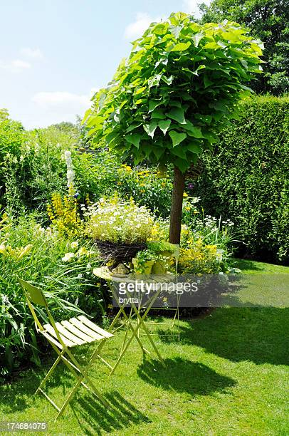 Tranquil sitting corner with catalpa tree,folding chairs,side table
