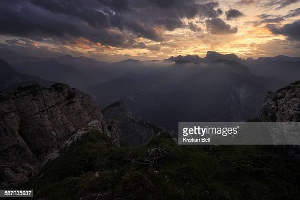 Tranquil sunset over mountains in the Italian Dolo