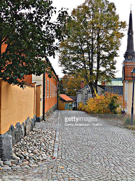 Tranquil Town Street With Cobble Stone, Yellow Orange Walls