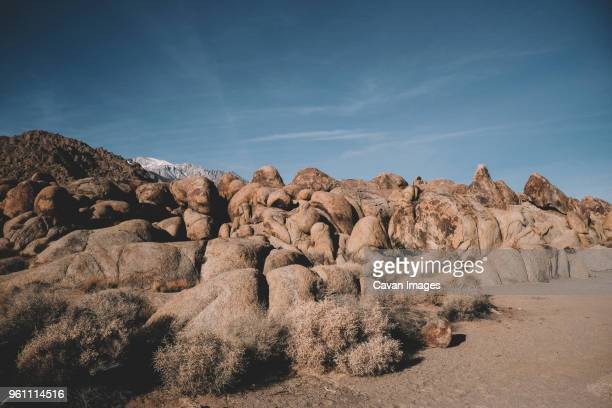 tranquil view of rock formations against sky at desert - alabama hills stock photos and pictures