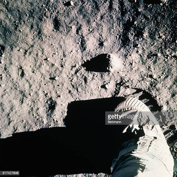Tranquility Base the Moon Closeup view of an astronaut's leg and footprint in the lunar soil photographed with a 70 mm lunar surface camera during...