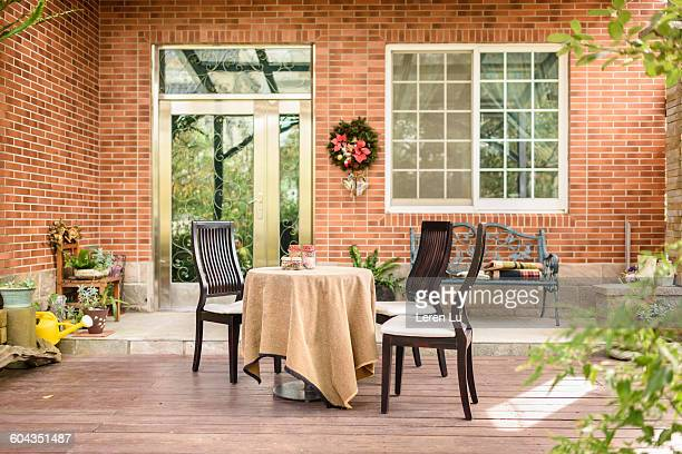 tranquility scene of front porch - leren stock pictures, royalty-free photos & images