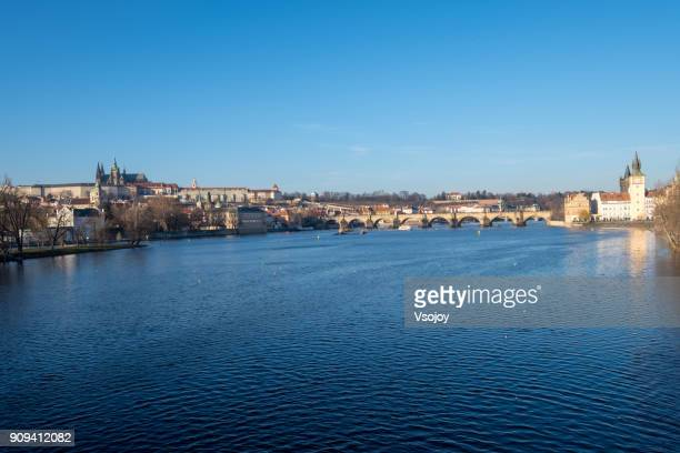 tranquility view on the vltava river, prague, czech republic - vsojoy stock pictures, royalty-free photos & images