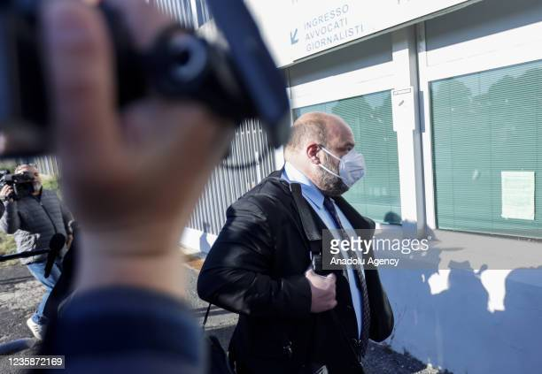 Tranquillino Sarno, of Egyptian security forces official Mohammad Ibrahim Atar Kamel, arrives for the start of the trial for the murder of the...