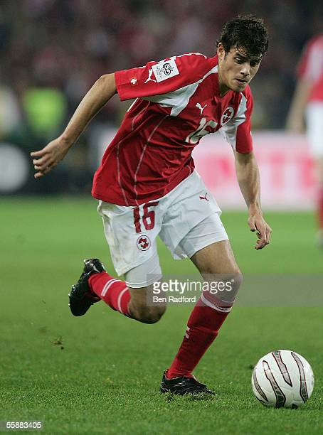 Tranquillo Barnetta in action for Switzerland during the FIFA World Cup Qualifying, Group Four match between Switzerland and France at the Stad de...