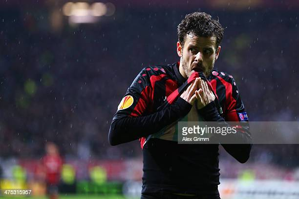Tranquillo Barnetta of Frankfurt reacts during the UEFA Europa League Round of 32 second leg match between Eintracht Frankfurt and FC Porto at...