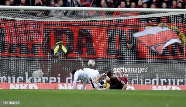 Tranquillo Barnetta of Frankfurt scores the opening/first goal during the Bundesliga match between 1. FC Nuernberg and Eintracht Frankfurt at Grundig...