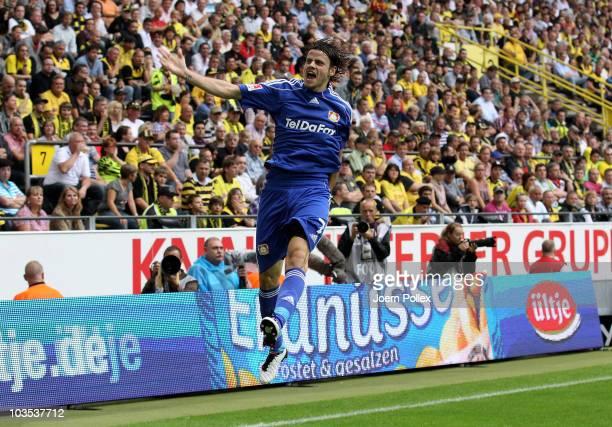 Tranquillo Barnetta of Leverkusen celebrates after scoring his team's first goal during the Bundesliga match between Borussia Dortmund and Bayer...