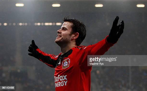 Tranquillo Barnetta of Leverkusen celebrates after scoring his team's third goal during the Bundesliga match between 1899 Hoffenheim and Bayer...