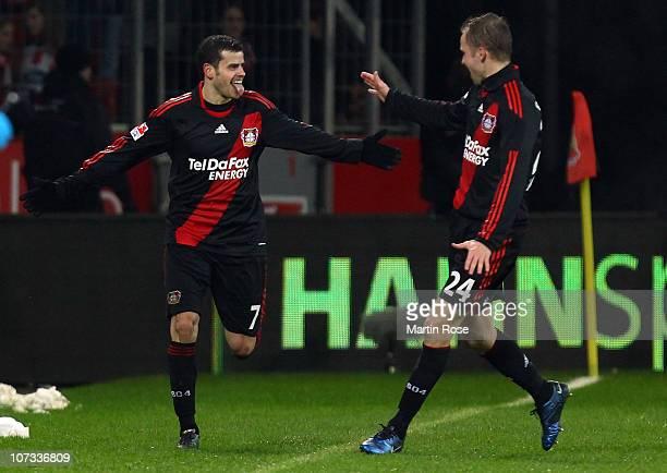 Tranquillo Barnetta of Leverkusen celebrates after scoring the 2nd goal during the Bundesliga match between Bayer Leverkusen and 1. FC Koeln at...