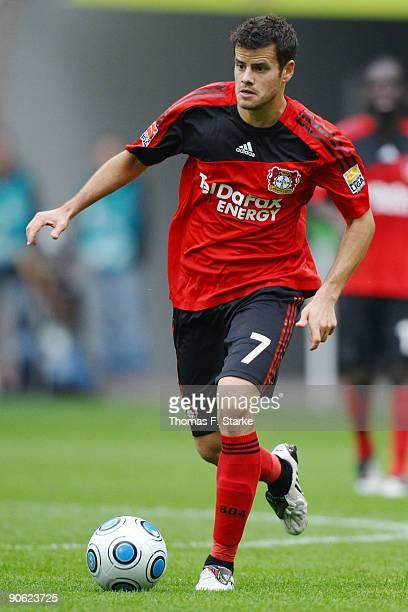 Tranquillo Barnetta of Leverkusen runs with the ball during the Bundesliga match between VfL Wolfsburg and Bayer Leverkusen at Volkswagen Arena on...