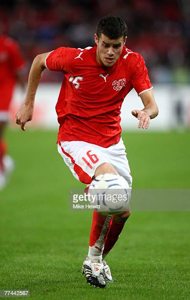 Tranquillo Barnetta of Switzerland in action during the International Friendly match between Switzerland and United States at the St. Jakob Park...