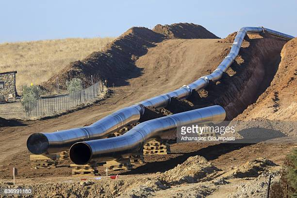 Trans Adriatic Pipeline construction site in Alexandroupoli near the village of Amphitrite on December 24 2016 in Alexandroupoli Greece Trans...
