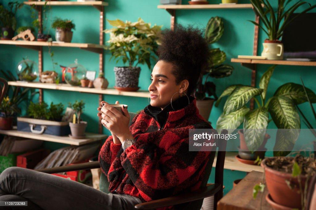Trans woman on her coffee break