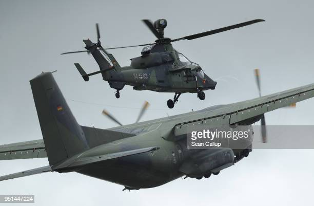 Transall C160 transport plane and a Eurocopter Tiger attack helicopter of the Bundeswehr the German armed forces participte in a special forces...