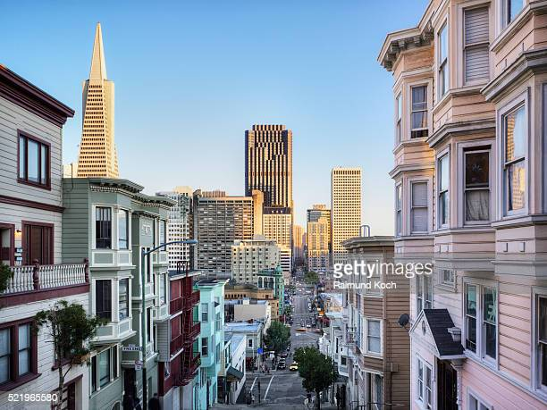 transamerica pyramid seen from kearny street in san francisco - san francisco california stock pictures, royalty-free photos & images