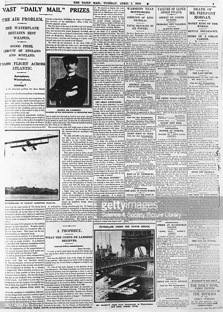 Transatlantic flight prizes April 1913 Page from Daily Mail giving details of the prizes