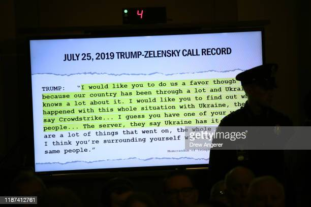 A transcript of a call between US President Donald Trump and Ukrainian President Volodymyr Zelensky is shown as top US diplomat to Ukraine William B...
