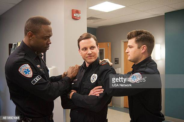 SIRENS Transendual Episode 204 Pictured Kevin Daniels as Hank St Clare Michael Mosley as Johnny Farrell Kevin Bigley as Brian Czyk