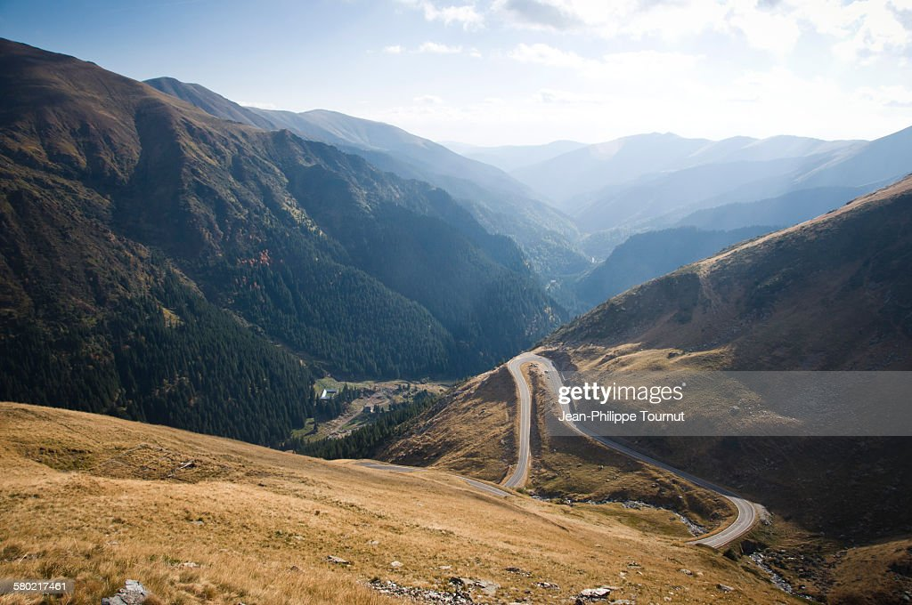 Transfagarasan road and the valley of Arges : Stock Photo