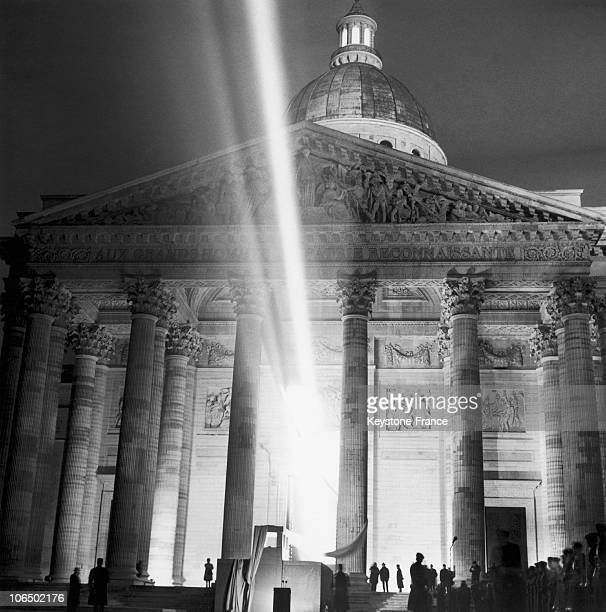 Transfer of Jean Moulin's Ashes to The Pantheon 1964 A Beam Of Light Lighting The Cenotaph Of The Famous French Resistance Fighter Jean Moulin...