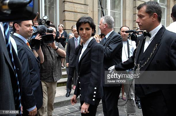 Transfer of power in Ministry of Justice between Rachida Dati and Pascal Clement outgoing minister in Paris France on May 18 2007 Rachida Dati new...