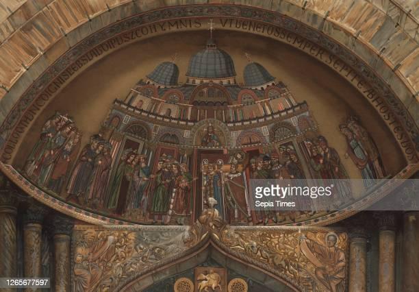 Transfer of the bones of St. Mark to St. Mark's Basilica, Mosaic in the dome of St. Mark's Basilica, signed: Alberto Prosdocimi dip, Ferd., Ongania...