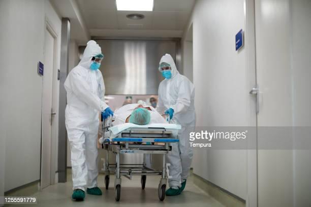 trasferimento di un paziente dall'area di emergenza in terapia intensiva - ospedale foto e immagini stock