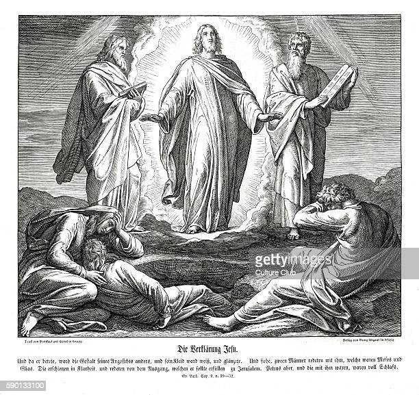 Transfiguration of Jesus Gospel of Luke chapter IX verses 29 32 'And as he prayed the fashion of his countenance was altered and his raiment was...
