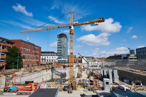 transformatie van odense city - bouwplaats - bouwplaats stockfoto's en -beelden
