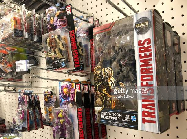 Transformer toys are displayed at a Target store on July 23 2018 in San Rafael California Hasbro Inc reported better than expected secondquarter...