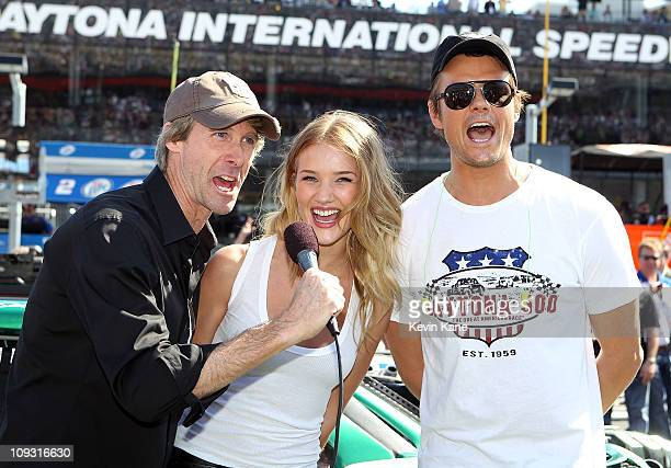 Transformers Director Michael Bay actors Rosie HuntingtonWhiteley and Josh Duhamel are Grand Marshals for the running of the Daytona 500 at Daytona...