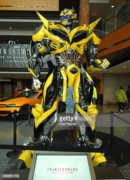 Transformers robots and cars used in the film Transformers 4 are seen at Detroit River Days 2014 at the Detroit Riverfront on June 20 2014 in Detroit...