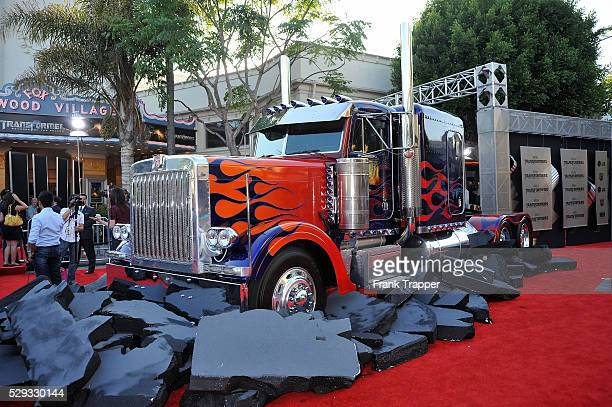Transformers truck on display at the premiere of Dreamworks' Transformers Revenge of the Fallen held at Mann Village Theatre in Westwood