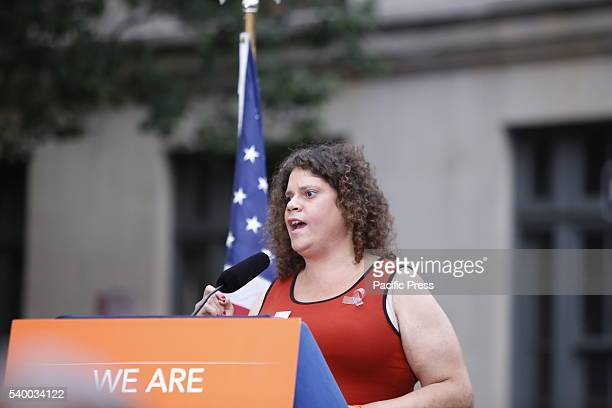 Transgender activist Jennifer Louise Lopez speaks NY governor Andrew Cuomo NYC mayor Bill de Blasio appeared together on Christopher Street in front...
