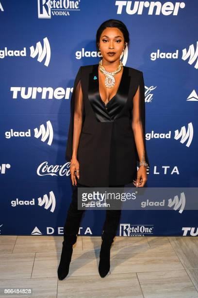 Transgender actress Amiyah Scott arrives at 2017 GLAAD Gala Atlanta in partnership with LGBTQ ally Ketel One Vodka on October 25 2017 in Atlanta...