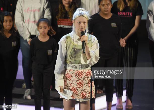 Transgender Artist Designer and Model Hunter Schafer speaks onstage at the 2018 Women In The World Summit at Lincoln Center on April 14 2018 in New...