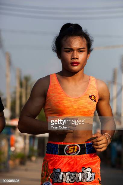 Transgender boxer Nong Rose on a training run close to the Ban Charoensuk Gym where she trains in Cholburi province Thailand Nong Rose whose real...