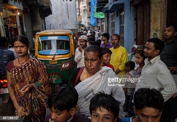Transgender Candidate Hijra Guru Baseer Kinnar aka Kamala Kinnar walks in the street while campaigning in a Muslim neighbourhood on April 21 2014 in...