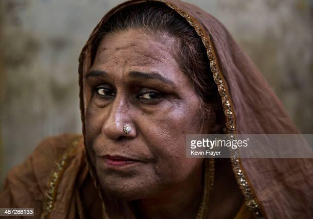 Transgender Candidate Hijra Guru Baseer Kinnar aka Kamala Kinnar is seen before campaigning in a Muslim neighbourhood on April 22 2014 in the Hindu...