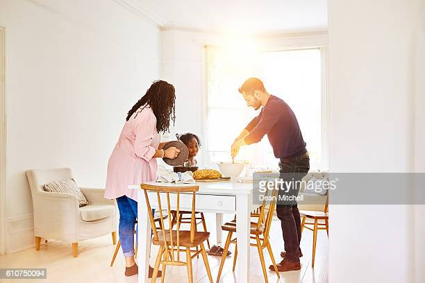 Transgender family together at dining table